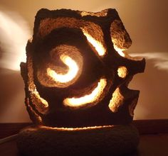 stone lamp, made entirely by hand.  www.laputea.com