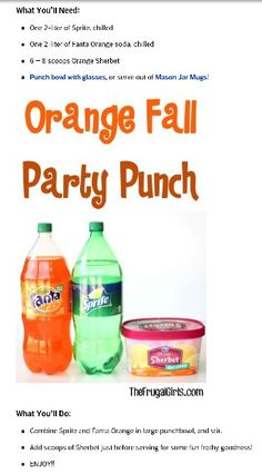 Ingredients} - The Frugal Girls Orange Fall Party Punch Recipe! This easy, delicious drink is perfect for all of your Fall Parties! Holiday Drinks, Party Drinks, Holiday Treats, Fun Drinks, Beverages, Holiday Punch, Christmas Punch, Tiki Party, Fall Birthday Parties