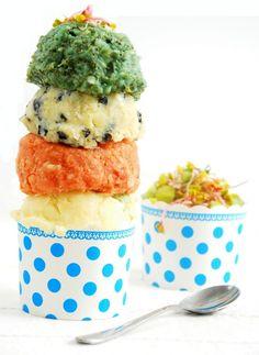"Colored ""ice cream"" Potatoes pureed...very clever presentation! Translator needed"