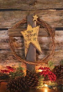 rustic wooden crosses | ... Wood Cross w Grape Vine When in Doubt Look Up Rustic Wood Cross | eBay