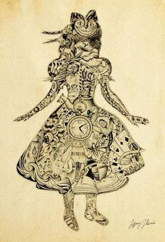Alice In Wonderland Tattoo - can you freakin imagine!? this would be intense!