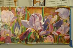 Day 4: continued with most of background, added foilage and first layer of remaining flowers.