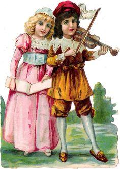Oblaten Glanzbild scrap die cut chromo Kind child  15cm  couple Paar Musik Geige