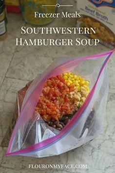 Freezer Meals-Crock Pot Southwestern Hamburger Soup recipe via flouronmyface.com