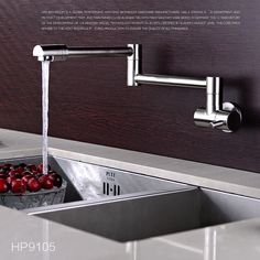 Cold Water Finish Single Handle Folding Kitchen Sink Faucet Wall Mount Chrome Mixer Tap Brass Faucet Kitchen  #Affiliate