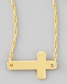 Moon & Lola Gold-Plate Integrated Cross Necklace 6DbHwC