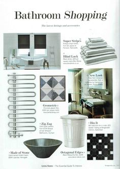 Achieve the monochrome look with our dimout Fabric changer premium blind, as featured in Living North 2015 #bathroomstyle #windowblind #windowtreatments