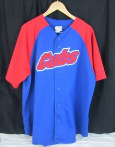 Vintage Majestic MLB Chicago Cubs Jersey Size L Embroidered Patch Cubs  7f28f418e