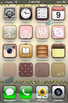A pretty iPhone with CocoPPa app. This app allows you to change icons and such.