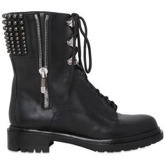 SERGIO ROSSI 30mm Rockstar Leather Combat Boots (20,725 THB) ❤ liked on Polyvore featuring shoes, boots, sapatos, botas, black, real leather combat boots, black military boots, side zip boots, low heel boots and military boots
