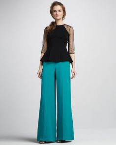 Sheer-Sleeve Peplum Top & Wide-Leg Pants by Nha Khanh at Neiman Marcus. You can wear a peplum with loose clothes.