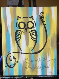 "Owl painting by Lynneth M. -""owl always be your friend"" acrylic on canvas."