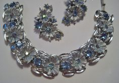 Vintage signed BSK bracelet and earrings available at www.kiki6462.etsy.com