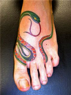 Here are most popular and best Tattoos Photo Gallery of Snakes Tattoo on Foot for your inspiration idea. Toe Tattoos, Tribal Tattoos, Tatoos, Colorful Snakes, Free Tattoo Designs, Snake Tattoo, Pretty Tattoos, Future Tattoos, Tattoo Photos