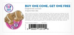 Pinned November 4th: Second ice cream cone free at #Baskin Robbins #coupon via The Coupons App