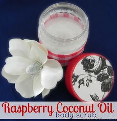 Raspberry Coconut Body Scrub: Coconut oil + Epsom salts (sugar works too) + raspberry extract. Shamefully simple, smells amazing. Sticking it in the freezer immediately after mixing gives it a beautiful texture, and after that it can remain at room temperature. Might use a different scent.