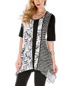 Love this Black & White Ruffle Handkerchief Tunic by Aster on #zulily! #zulilyfinds