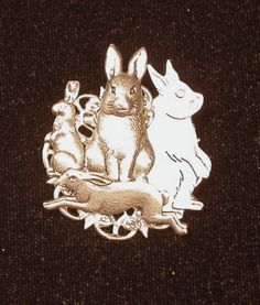 Wild Hare Pin Brooch Rabbit Bunny Silver Collage by NostalgicCharm
