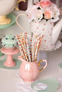 Floral Bouquet Floral Straws Party Supplies Bridal Shower Wedding Tea Party Garden Party Shabby Chic Girl Party Pink Party Supplies is part of Tea party garden Such a lovely Floral pack of straws! Girls Tea Party, Tea Party Theme, Tea Party Wedding, Tea Party Birthday, Rustic Tea Party, Shabby Chic Birthday Party Ideas, Wedding Parties, Pink Party Themes, Party Hats