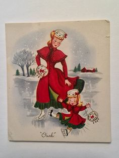 Vintage Christmas Card Mother & Daughter Ice Skating Matching Outfits Fur Muffs Card measures about 3 1/2 by 4 inches, used and signed as a valentine Card has small tear on the top Published by Stuart Hall Please see photos & check out my other vintage Christmas card listings! | eBay!