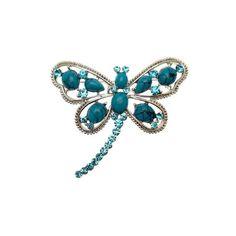 Aqua Crystal & Turquoise Blue Bead Dragonfly Brooch