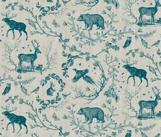 Woodland Winter Toile (in Teal) fabric - nouveau_bohemian - Spoonflower