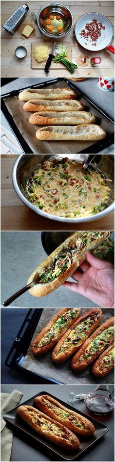 Baked Egg Boats (4 demi baguettes - 5 oeufs - 80 ml crème -- 90 gr emmental rapé - 2 oignons émincés - Sel, Poivre, Baies du moulin)