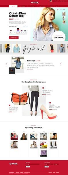 TJ Max Website. Website design layout. Inspirational UX/UI design samples.  Visit us at: www.sodapopmedia.com #WebDesign #UX #UI #WebPageLayout #DigitalDesign #Web #Website #Design #Layout
