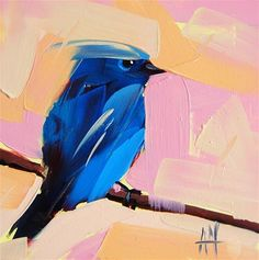 """Daily Paintworks - """"Mountain Bluebird no. 5"""" by Angela Moulton"""