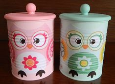 Tin Can Crafts, Owl Crafts, Diy And Crafts, Painted Tin Cans, Diy Drawer Organizer, Painted Plant Pots, Wedding Picture Poses, Reuse Recycle, Recycled Crafts
