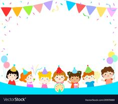 Cute multicultural kids party template vector image on VectorStock Happy Birthday Frame, Birthday Frames, Kids Birthday Cards, Birthday Board, Diy And Crafts, Crafts For Kids, Eid Cards, Preschool Graduation, Birthday Scrapbook