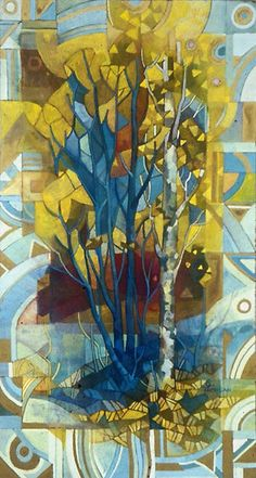 birch by elisabetta trevisan, tempera and watersoluble pencils on mdf