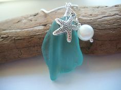 Sea Glass Aqua Blue Beach Glass Necklace Lake by beachglassshop, $42.00