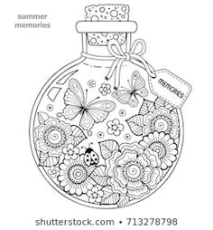Coloring for adults. Vector Coloring book for adults. A glass vessel with memories of summer. A bottle with bees, butterflies, ladybug and leaves