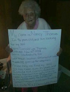 Help her find her son REPOST
