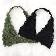 4eec163239 Lace Halter Bralettes - Small-XXLarge Green Bralette