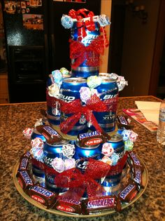 Beer and candy birthday cake. I will use pop! Candy Birthday Cakes, Diy Birthday Cake, Birthday Ideas, Soda Can Cakes, Cake In A Can, Gift Baskets For Men, Presents For Dad, Appreciation Gifts, Easy Peasy