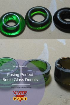 Fused Bottle Glass Donuts and Rings - Glass With A Past Melted Wine Bottles, Old Wine Bottles, Wine Bottle Candles, Recycled Glass Bottles, Glass Bottle Crafts, Sea Glass Crafts, Wine Bottle Art, Lighted Wine Bottles, Shell Crafts