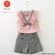 Girls Clothing Sets 2018 New Style Summer Children Clothes Cute Plaid Lace + White Bow Short Pants Kids Clothes Sets Toddler Girl Outfits, Little Girl Dresses, Baby Outfits, Kids Outfits, Toddler Girl Clothing, Winter Outfits, Kid Dresses, Newborn Clothing, Tween Clothing