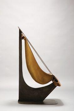Alain Douillard; Steel and Leather Chair, 1970.