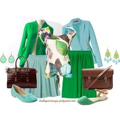 Bold Blue and Green, created by lindsycarranza on Polyvore