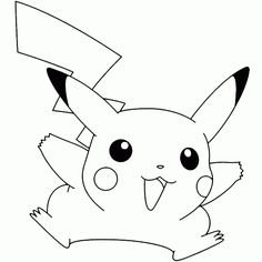 Pikachu Pokemon Black and White Coloring Pages