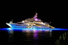 Night view superyacht Ace - Lürssen