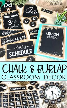 Create an organized and well managed classroom for any grade level with this editable burlap and chalkboard classroom décor set. Stylish, easy to customize bulletin boards, labels, binder covers, posters, and displays help you decorate a calm and cohesive burlap and chalkboard theme classroom! Includes manuscript and cursive styles ideal for teachers who need ideas for back to school classroom decorations!
