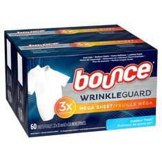 Bounce WrinkleGuard Mega Dryer Sheets Fabric Softener and Wrinkle Releaser - Outdoor Fresh Scent - Sugar Facial Scrub, Static Cling, Relaxer, Fabric Softener, Simple Bags, Product Label, Health Facts, Dryer, Things That Bounce