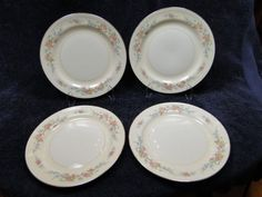 This pattern features arrangement of small pink and orange roses, blue flowers, and wispy green leaves. Very interesting and fascinating to study...  D & R Vintage Dinnerware and Replacements