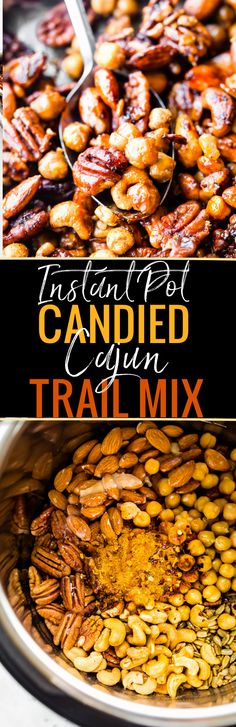 Candied chickpea cajun trail mix made easy in the Instant Pot! A homemade cajun trail mix recipes that's quick and healthy. A spicy vegan friendly snack!