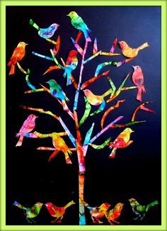 The tree of birds - The turn of my ideas - - Art Auction Projects, School Art Projects, Classe D'art, Collaborative Art, Art Classroom, Art Activities, Tag Art, Bird Art, Art Education