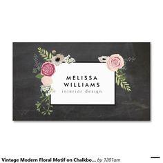 Motivo floral moderno do vintage no desenhista do cartão de visita