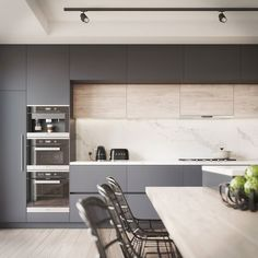 Kitchen Visualisation featuring a Benjamin Moore Black Berry colour. Most Popular Kitchen Design Ideas on 2018 & How to Remodeling Kitchen Inspirations, Home Decor Kitchen, Kitchen Remodel, Kitchen Decor, Contemporary Kitchen, Kitchen Room Design, Home Kitchens, Kitchen Layout, Modern Kitchen Design